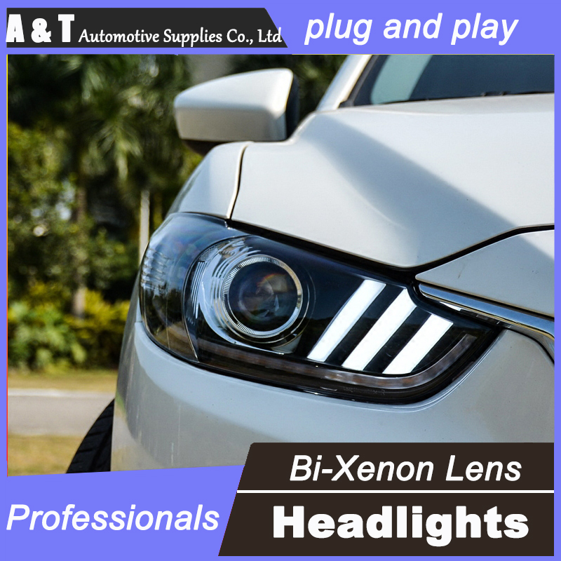 car styling For Mazda ATENZA headlight assembly angel eyes 2014 For ATENZA bi xenon lens h7 with hid kit 2 pcs. 1pc 2 5 hid xenon ultimate bi xenon projector lens parking car styling headlight diy lamp for h1bulb with shrouds h4 h7 socket