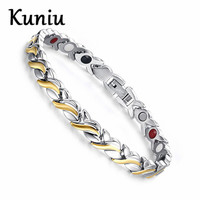 Begonia Fashion Health Magnetic Bracelet For Womens Stainless Steel Magnet Germanium Care Bracelet Hand Chain
