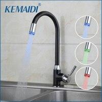 OUBONI Modern Design Style LED Light Swivel Kitchen Faucets Cozinha Torneira Deck Mounted Single Hole Bathroom