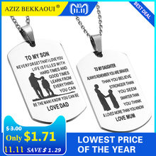 2eb4470c00 AZIZ BEKKAOUI TO MY SON Stainless Steel Pendant Necklaces Engrave Name Love  Dad/Mum ID Tag Necklaces Customized Logo Jewelry