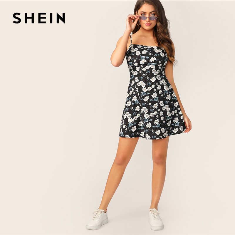 SHEIN Boho/черный цветочный декоративный Рисунок с принтом, облегающее и расклешенное летнее платье на бретельках для женщин, 2019, без рукавов, с высокой талией, на молнии, мини-платья