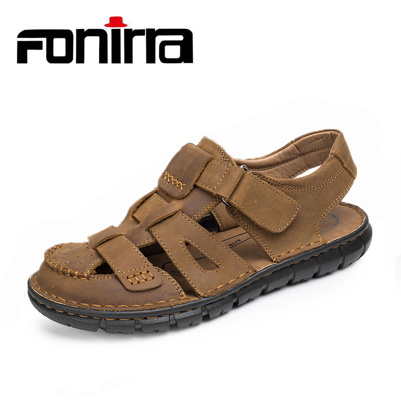Summer Fashion Men Beach Sandals Genuine Leather Breathable Hook And Loop Men Shoes New Soft Male Sandals FONIRRA 814