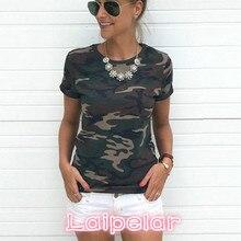 купить Women Camouflage T Shirt 2018 Summer Short Sleeve T-Shirt Girls Casual Tops Tees Slim O-neck Female Cotton Tops Plus Size S-XXXL по цене 354.97 рублей