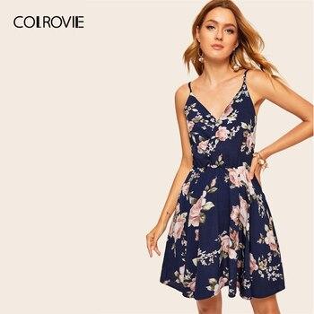 9e2607d86f6b26a COLROVIE темно-синий цветочный принт случайный Surplice женское платье 2018  без рукавов Цветочное летнее платье