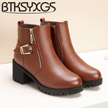 BTKSYXGS 2017 Women Martin boots 100% Genuine leather Fashion winter/35-43 square high heels snow boots Women's cotton shoes