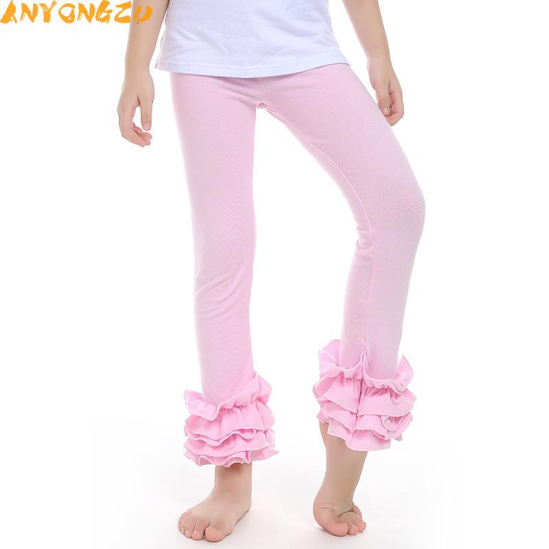 Оборками Штаны для девочек хлопковые кружевные леггинсы детские весна осень детские леггинсы Штаны новый бутик конфеты брюк 3 шт.