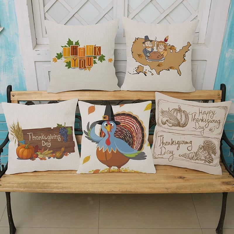 Hot Thanksgiving Pumpkin Turkey Gifts Pillow Home Creative Decoration  Cushion Cover Sofa Car Waist Pillow Custom