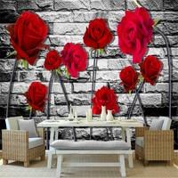 modern 3d custom non woven mural wallpaper red rose painting TV sofa background wallpaper home decor for study room