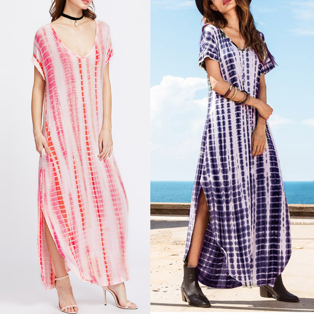 Plus Size Women Dress Tie Dye Loose Oversized Vestidos Kaftan Long Shift  Dresses Ladies Curved Hem Beach Boho Maxi Dress 2018 543d39ef6b54