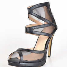 Sexy Mesh Women's Stiletto Heel Sandals zapatos mujer 2015 fashion comfortable shoes  Women Shoes Thin High Heels Cover