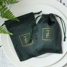 Sacs cadeaux à cordon en flanelle, pochettes demballage pour bijoux verts, sachets avec Logo personnalisé, à bonbons, pour fête de mariage, collection 100