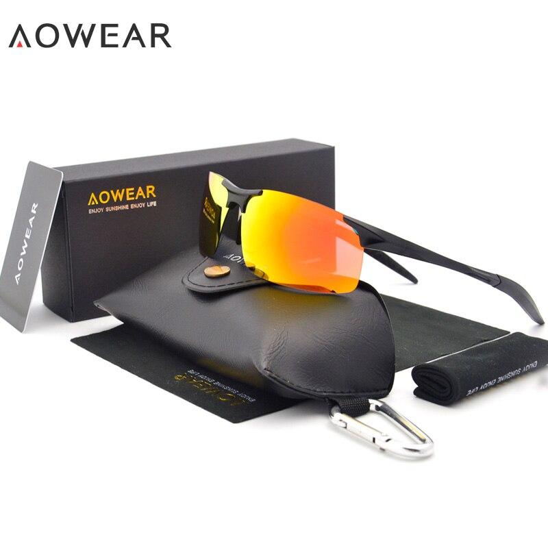 Aowear genuíno de alumínio magnésio esportes óculos de sol dos homens polarizados sem aro óculos masculinos lunette soleil h02
