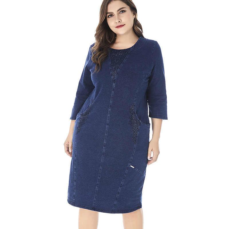 Для женщин s плюс Размеры платье из джинсовой ткани для Для женщин Высокое качество модные женские Винтаж элегантное великолепное платье вечерние большой размер весенний платье