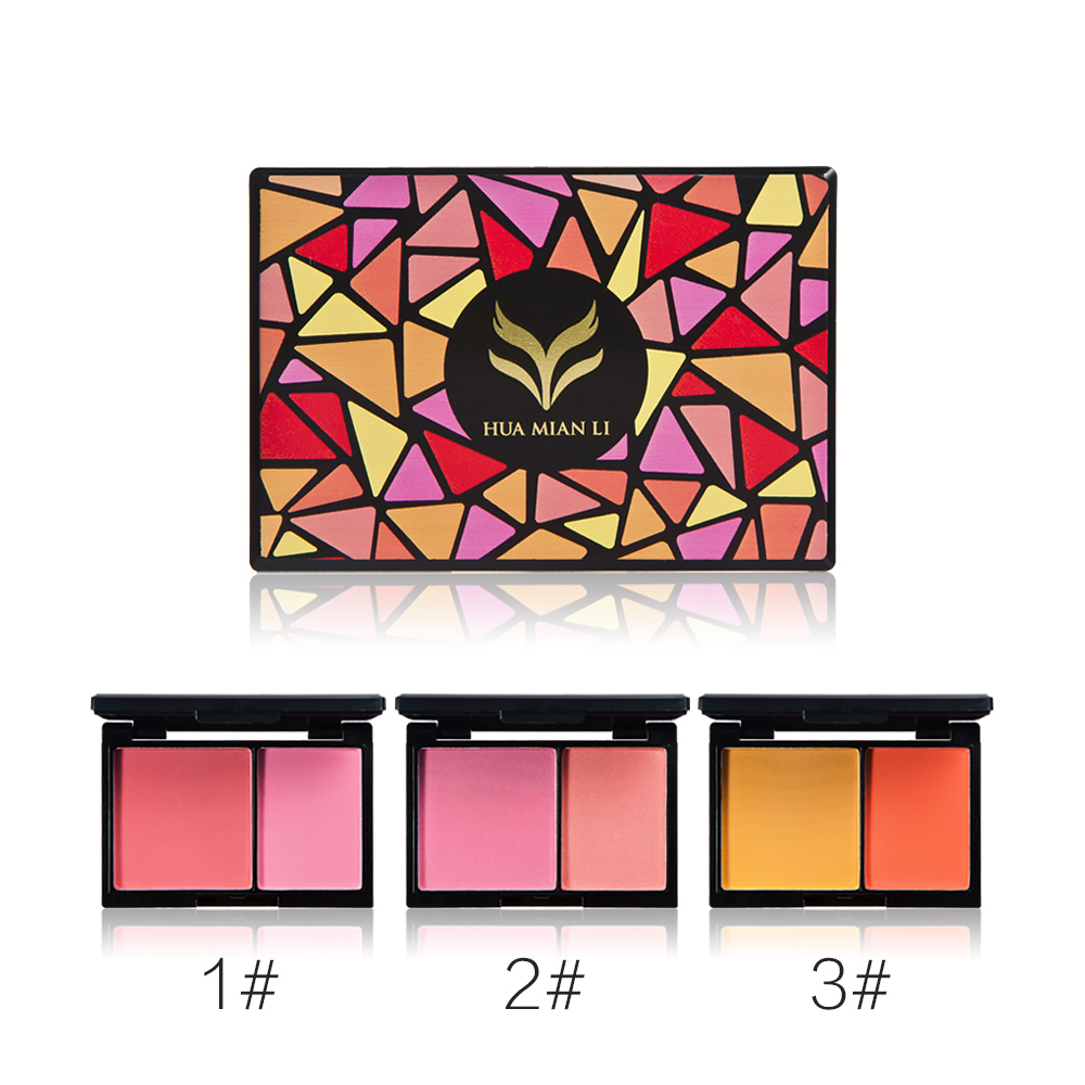 HUAMIANLI band Blusher Powder Makeup Palette Double Color Matte Shimmer Pigmented Face Blush Cosmetic Kit Palette