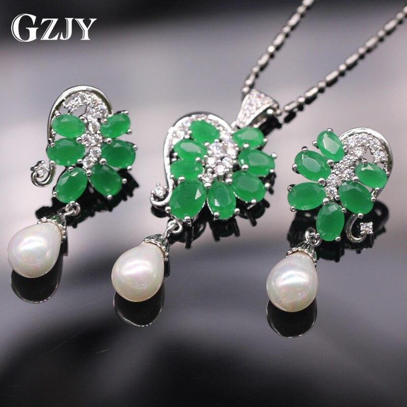 GZJY Exquisito Conjunto de Joyas de Oro de Color Verde Zircon de La Perla Natura