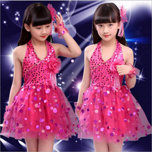 6 colores Veil Girl Latin Dancewear Niños Lentejuela Vestidos latinos Estudiantes Flor Moderna Etapa de Baile Disfraces Tamaño 100-150 cm