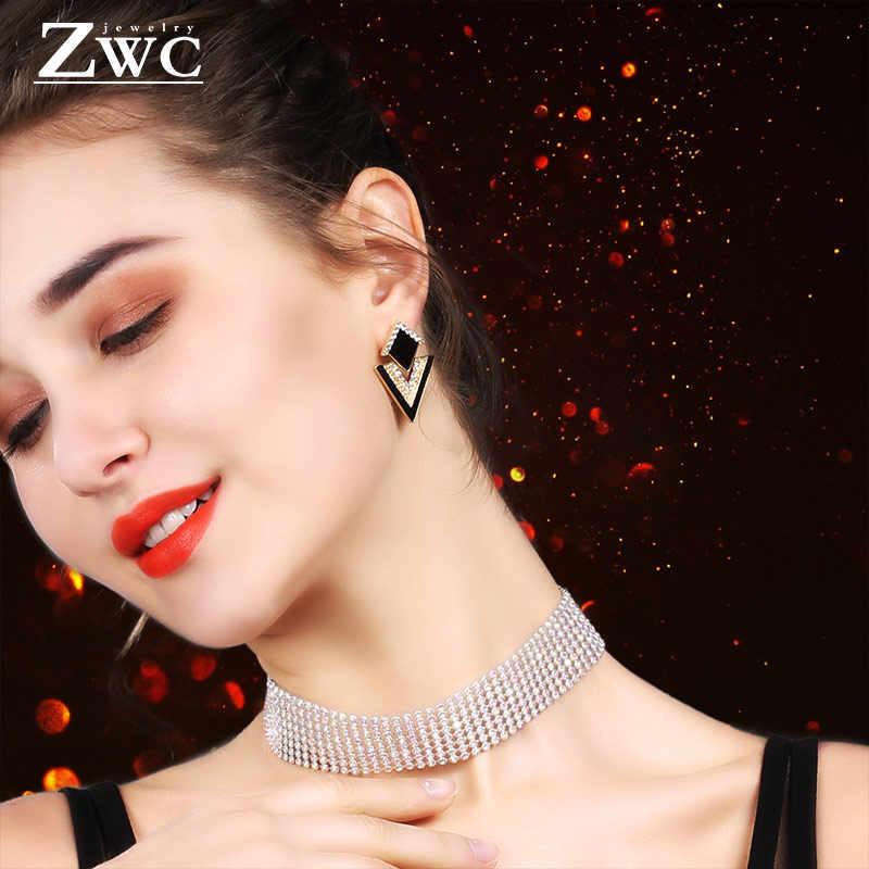 ZWC proste w koreańskim stylu na lato oświadczenie spadek kolczyki dla kobiet 2019 moda biżuteria metalowe geometryczne złote zawieszki zwisają kolczyk