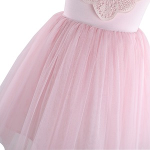 Image 4 - Flofallzique Kid Clothes Pink Round Neck Lace Tulle Tutu Party Wedding Christmas Sweet Cute Girl Dress  1 8Y