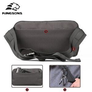 Image 2 - Kingsons sac à dos à épaule pour hommes et femmes, petit sac de poitrine à bandoulière simple, sac banane Style ceinture argent pour voyage pour téléphone portable