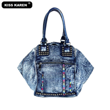 KISS KAREN Rivet Vintage Fashion Denim Bag Women Tote Bag Jeans Ladies Handbags Women's Shoulder bags Casual Totes Trapeze Bags цена