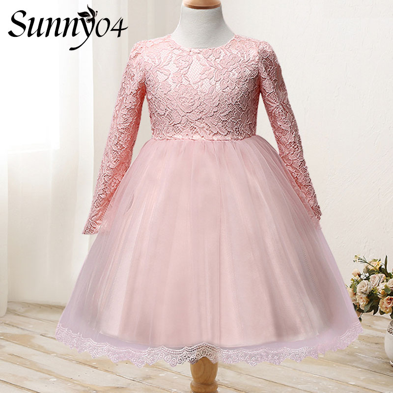 Baby Girls Long Sleeve Dress 1 Year Birthday 2017 Flower Kids Clothes Girls Lace Dresses Autumn Brand Princess Children Clothing