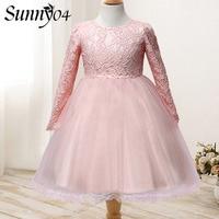Baby Girls Dress Long Sleeve 2017 Rose Flower Kids Clothes Girls Lace Dresses Winter Brand Princess