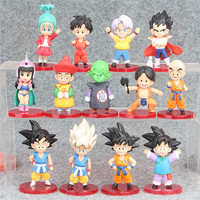 13 pcs/lot Dragon ball anime action figure handmade toys perfect quality figurine SON Goku ChiChi Oolong cake decoration toys