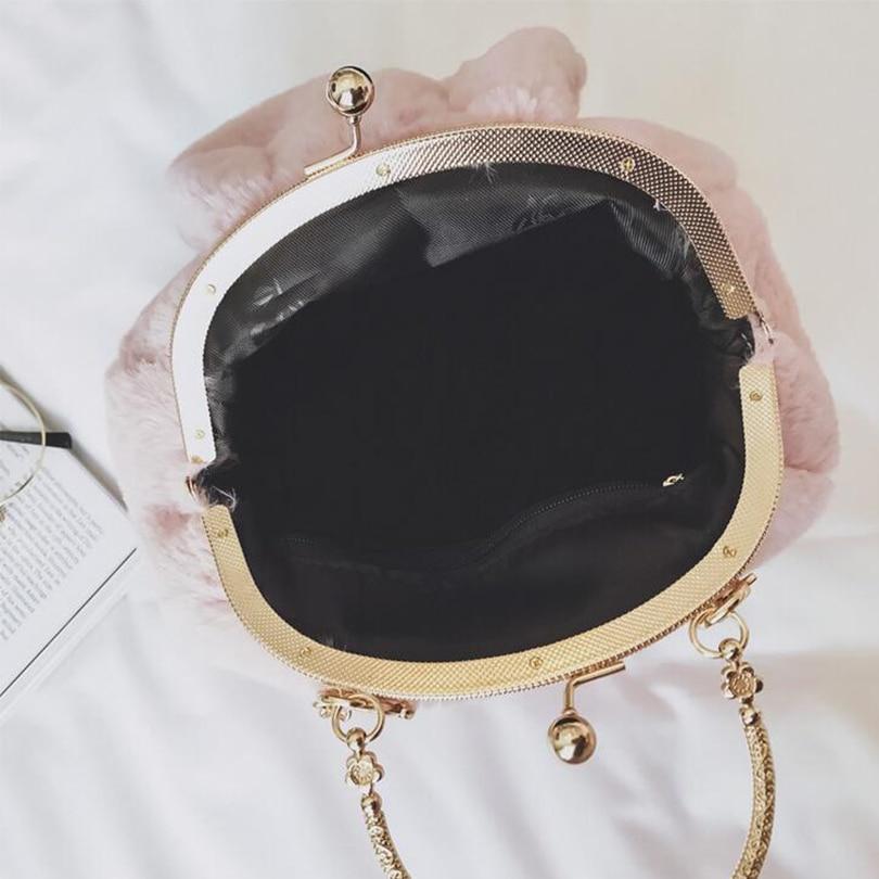 2019 New Women Plush Rabbit Ear Shell Chain Messenger Bag Fashion Faux Fur  Female Winter Handbag Lady Shoulder Bag WX6239-in Top-Handle Bags from  Luggage ... 2767214368313