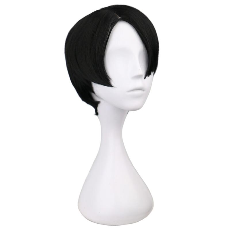 QQXCAIW Σύντομη Κέντημα Anime Cosplay Levi / Rivaille - Συνθετικά μαλλιά - Φωτογραφία 2