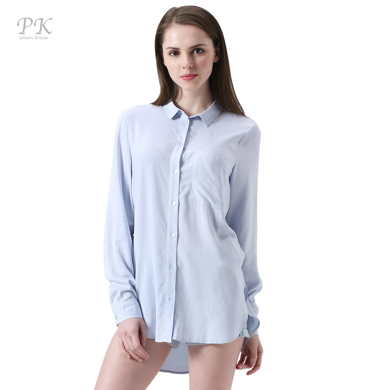 PK baby blue boyfriend women shirts 2018 uneven button classic struped clothes long sleeve women blusa roupas femininas 2018
