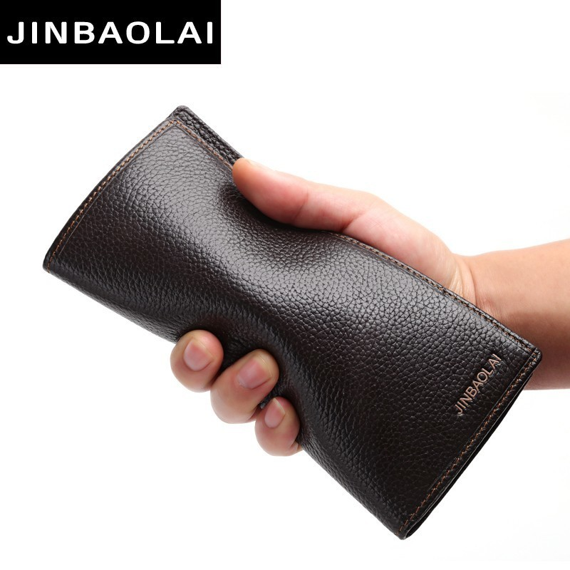 JINBAOLAI 2018 Men Wallet Clutch Genuine Leather Brand Purse Male Organizer Cell Phone Clutch Bag Long Coin Purse Leather Wallet men wallet genuine leather long size crazy horse cowhide leather male clutch coin purse card holder wallet