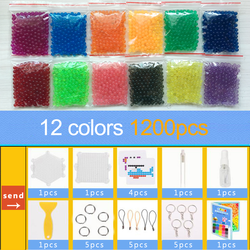 DOLLRYGA 12Colors 1200pcs Crafts For Kids Aqua Water Beads For Children Pyramid Looms Perlen Handicraft Pegboard Aquai Bead Sets
