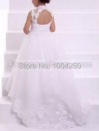 2018 White Ivory High Neck Hollow Back Lace Fairy Princess   Flower     Girl     Dress   Child Wedding Party   Dress   AF003