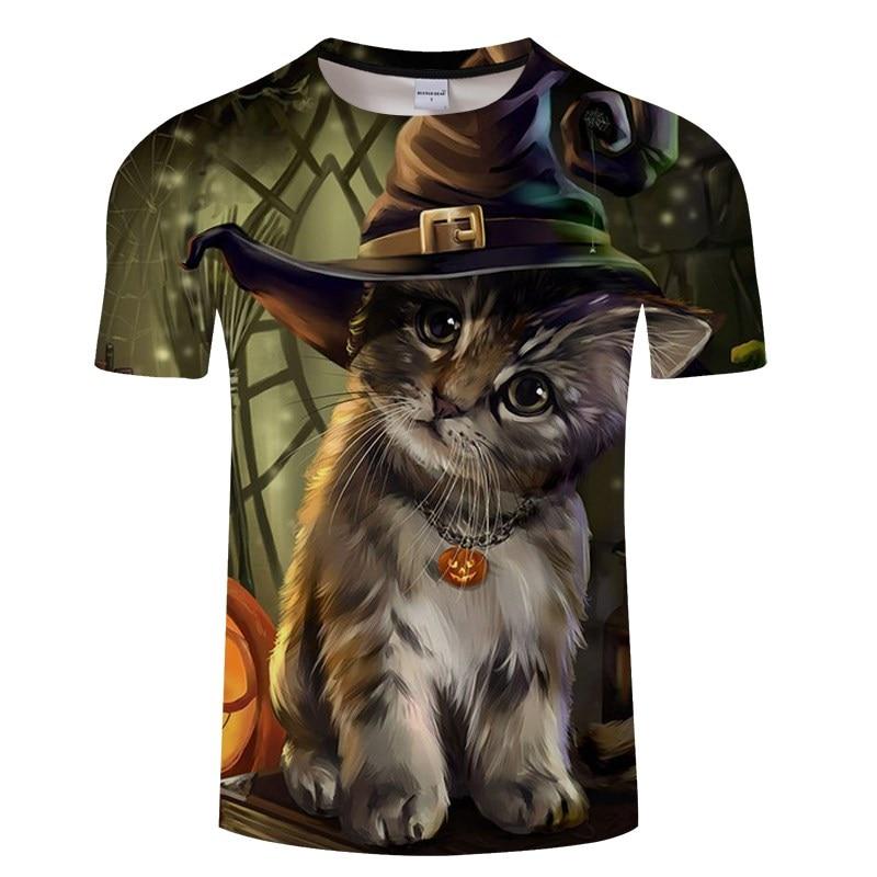 Черная футболка с 3D принтом кота для мужчин и женщин, летняя повседневная футболка с коротким рукавом и круглым вырезом, Топы И Футболки, Забавные футболки, Азиатские размеры S-6XL - Цвет: TXKH3141