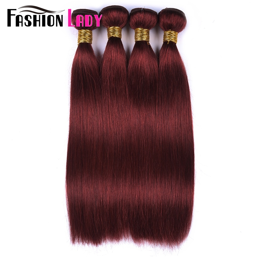 Fashion Lady Pre-Colored Brazilian Hair 4 Bundles Straight Hair Bundles 100% Human Hair Burgundy #33 Red Hair Bundles Non-Remy ...