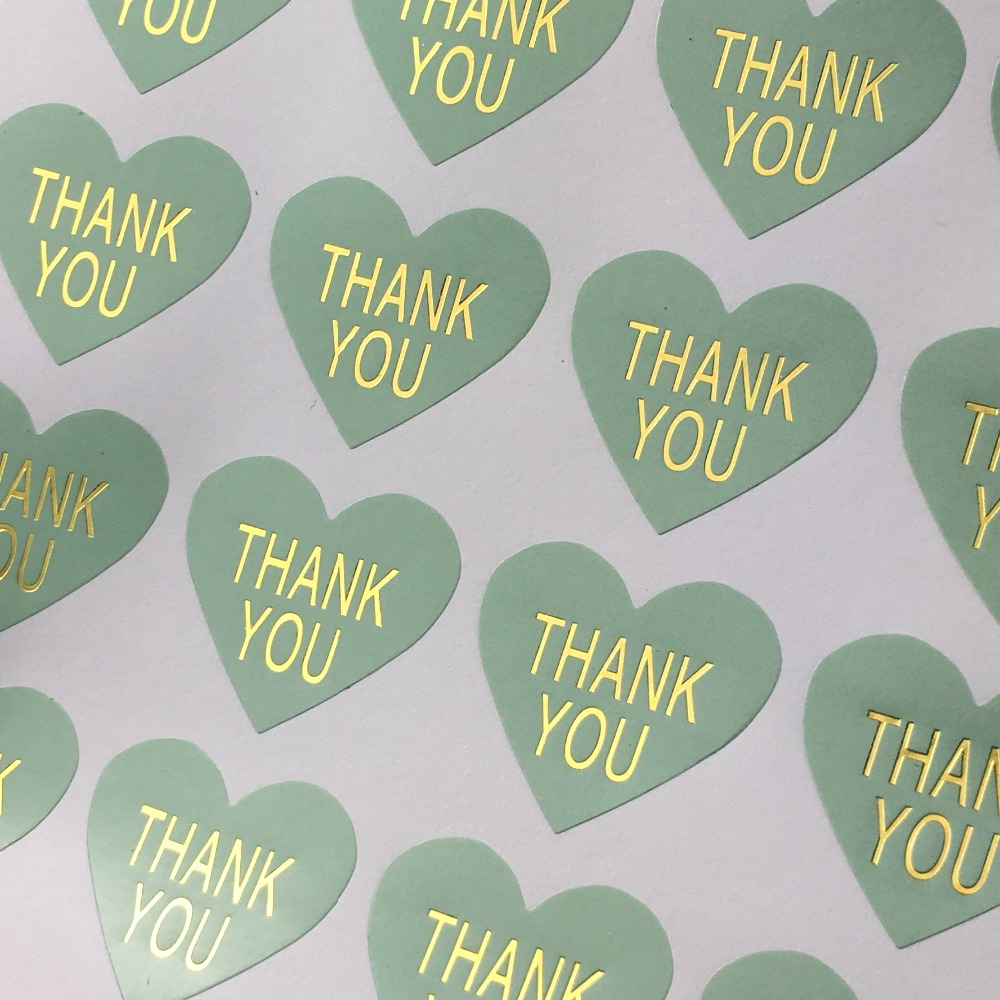 Scrapbook paper display - 500 Pcs Lot Thank You Labels Mint Green Color Heart Thermoprinting Gold Scrapbooks Sticker Labels Adhesive For Gift Bake Jewelry
