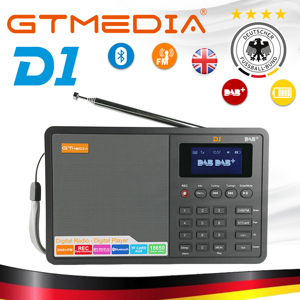 High Quality Radio Professional GTMedia D1 DAB Radio Stero For UK EU With Bluetooth Built in Loudspeaker Easy Operation Black