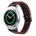 V-MORO Genuine Leather Watch Strap Banda Substituição para a Engrenagem S2 banda Alça de Pulso com Adaptadores Para A Engrenagem de Metal S2 R720 café