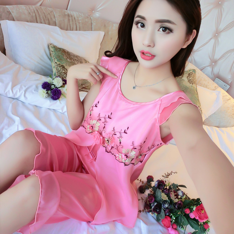 b9f1c89e18 Young girl Sexy short sleeve silk pajamas set women s home clothes suit  summer thin large size home wear birthday present-in Pajama Sets from  Underwear ...