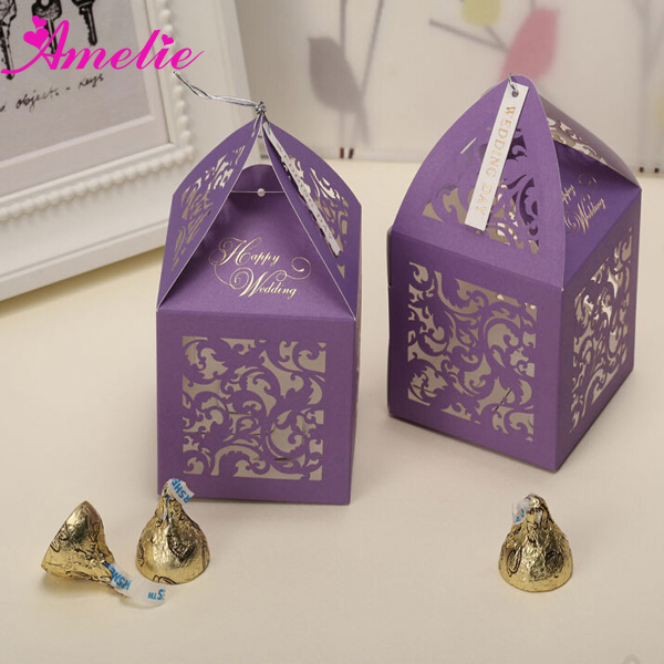 with free shipping wholesale cheap paper wedding favors candy boxes purple wedding box for candy 50pieces