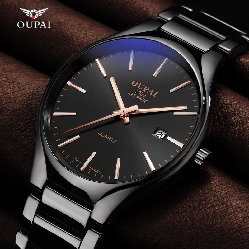Luxury Oupai Watch Men Classic Black Ceramics Double Date Women Mens Sport Quartz Watches Montre - bracelet Uhren