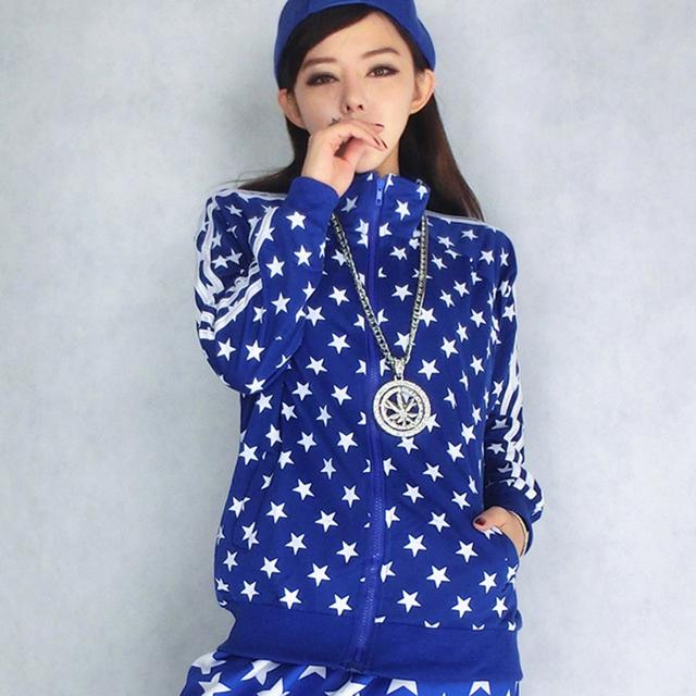 2016 Otoño Nuevo Coreano Azul Pequeña Estrella Suéter de la Rebeca de La Manga Completa Sudaderas Mujeres Salvaje Capa de Las Señoras Chaqueta Informal Con Cremallera