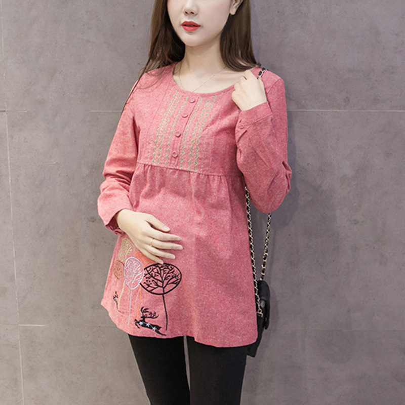New Vintage Design Pregnant Women Blouse Fashion Embroidered Maternity Tops Pregnancy Clothes Cotton Maternity Blouse Maternity Blouse Maternity Blouses Designwomen Maternity Blouse Aliexpress