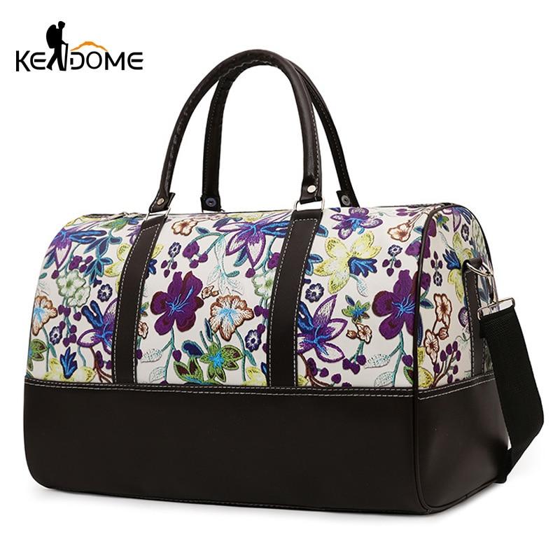 Women Sport Gym Bag Yoga Fitness Shoulder Bags Travel Handbag Tote Flower Embroidery Training Pack Bolsa Deporte Mujer XA305WD
