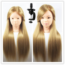 "26"" Training Head For Hairdressers Mannequin Head Hair Yaki Synthetic Hairdressing Doll Heads Cosmetology Mannequin Head Manikin(China)"