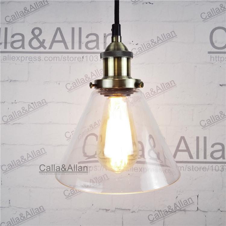 Light bulb pendant lamp bronze glass restaurant pendant light vintage brass finished iron assembled light fixture brass cone shade pendant light edison bulb led vintage copper shade lighting fixture brass pendant lamp d240mm diameter ceiling