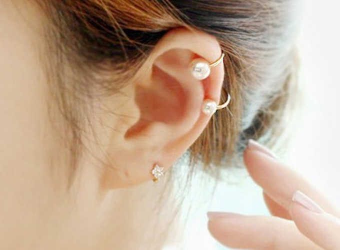 Fashion  Korea imitation pearl ear bones  earrings invisible U  earrings non pierced ear  girls birthday gift