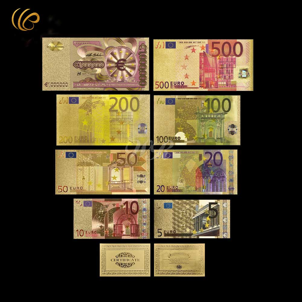 Hot Sale Colorful Gold Banknote Euro Gold Plated Paper Money 8 Pcs Set Gold Foil Banknote with Certificate Card Worth Collection