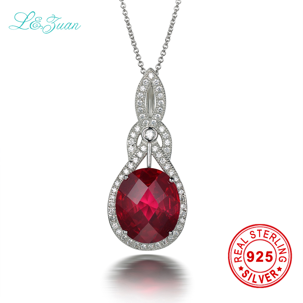 l&zuan 7.98ct ruby pendant Red gemstones sterling silver jewelry necklace & pendant for women