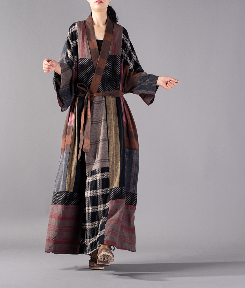 Women Plus Size Patchwork Plaid Cotton Linen Trench Coat Female Outwear Vintage Retro Plus Size Overcoat